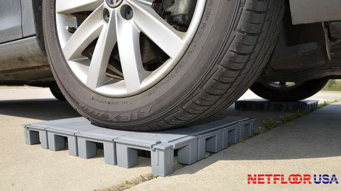 Netfloor USA ECO Cable Management Access Floor - Testing Strength By Driving a Car On Floor Panel