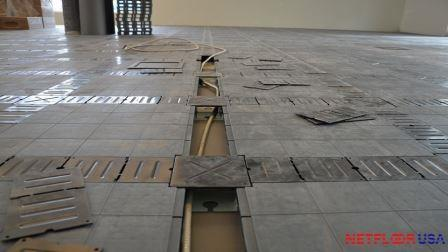 Access Flooring with Electrical Wire Inside Cable Raceway