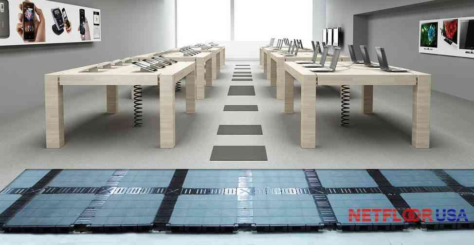 Netfloor USA Access Flooring - Cable Management Floor in a Retail Store