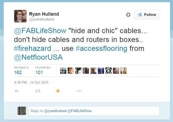 """Fab Life"" Show Dangerous Methods of Cable Management - Tweet Screenshot"
