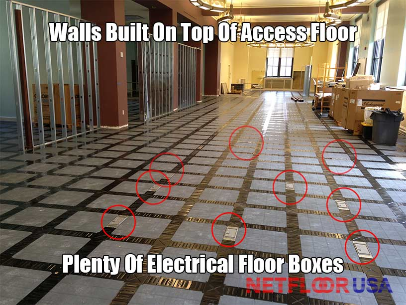 Walls Built on Top of Raised Access Floor - Netfloor USA